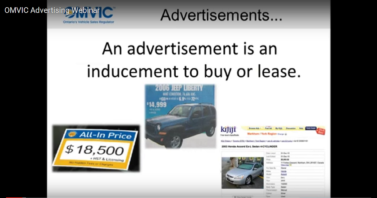OMVIC Advertising Webinar
